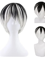 cheap -unisex anime short cosplay wigs with bangs heat resistant hair for party halloween, black white wigs