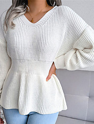 cheap -Women's Pullover Sweater Jumper Knitted Solid Color Stylish Casual Soft Long Sleeve Sweater Cardigans V Neck Fall Winter Gray Khaki White