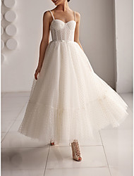 cheap -A-Line Wedding Dresses Sweetheart Neckline Spaghetti Strap Ankle Length Tulle Sleeveless Country Simple Little White Dress Cute with Bow(s) 2021