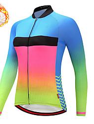 cheap -21Grams Women's Long Sleeve Cycling Jersey Winter Fleece Spandex Blue Color Block Bike Top Mountain Bike MTB Road Bike Cycling Quick Dry Moisture Wicking Sports Clothing Apparel / Stretchy