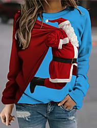 cheap -Women's Sweatshirt Pullover 3D Santa Claus Print Christmas Casual Sports 3D Print Active Streetwear Hoodies Sweatshirts  Blue
