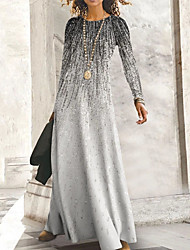 cheap -Women's A Line Dress Maxi long Dress Blue Gray Khaki Long Sleeve Print Print Fall Round Neck Casual 2021 S M L XL XXL 3XL