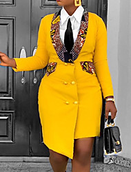 cheap -Women's Sheath Dress Knee Length Dress Yellow Red Long Sleeve Color Block Print Fall Shirt Collar Work Casual Regular Fit 2021 S M L XL XXL 3XL