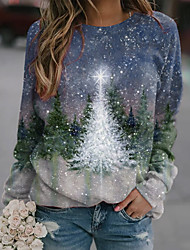 cheap -Women's Sweatshirt Pullover Christmas Tree Print Christmas Casual Sports 3D Print Active Streetwear Hoodies Sweatshirts  Blue Purple Green