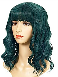 """cheap -loose wave dark green wig short bob wigs with air bangs shoulder length wig for women curly wavy synthetic cosplay wig for girl costume wigs (15"""" dark green color)"""