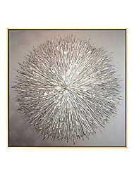 cheap -Oil Painting Handmade Hand Painted Wall Art Modern Abstract Texture Art Silver Circles Pattern Home Decoration Decor Rolled Canvas No Frame Unstretched