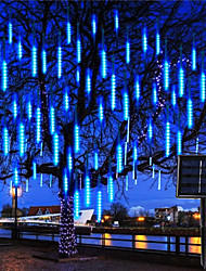 cheap -LED Meteor Shower Lights IP65 Outdoor Solar Power 8 Tube 30CM LED Meteor Shower Garland Festoon Holiday Strip Xmas Light Waterproof Fairy Light For Street Garden Yard Decoration Colorful New Year Lighting