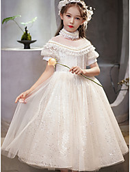 cheap -Princess Ankle Length Flower Girl Dresses Party Tulle Short Sleeve Jewel Neck with Lace