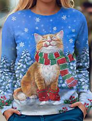 cheap -Women's Sweatshirt Pullover Cat Graphic Prints Print Christmas Casual Sports 3D Print Active Streetwear Hoodies Sweatshirts  Blue