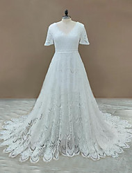 cheap -A-Line Wedding Dresses V Neck Sweep / Brush Train Lace Sleeveless Country Romantic with Appliques 2021