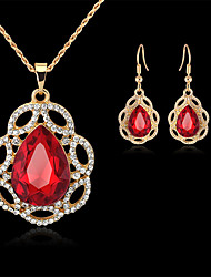 cheap -Women's Bridal Jewelry Sets Geometrical Pear Fashion Gold Plated Earrings Jewelry Red / Green For Christmas Party Wedding Gift Festival 1 set