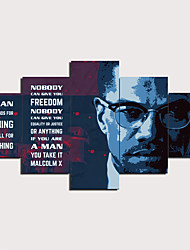 cheap -5 Panels Wall Art Canvas Prints Painting Artwork Picture MALCOLM X Painting Home Decoration Decor Rolled Canvas No Frame Unframed Unstretched