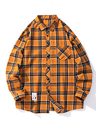 cheap -Men's Shirt Lattice Plus Size Long Sleeve Street Tops Casual Fashion Breathable Comfortable Yellow Green Orange