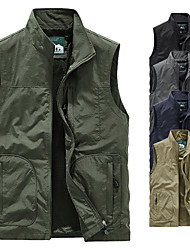 cheap -Men's Fishing Vest Hiking Vest Sleeveless Outerwear Trench Coat Top Outdoor Thermal Warm Waterproof Windproof Quick Dry Autumn / Fall Winter Spring Nylon Solid Color Army Green Grey Khaki Skiing Ski