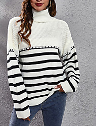 cheap -Women's Pullover Sweater Jumper Knitted Striped Stylish Casual Soft Long Sleeve Sweater Cardigans Turtleneck Fall Winter Camel Green Black