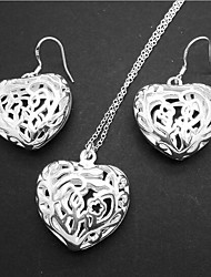cheap -Women's Bridal Jewelry Sets Geometrical Heart Fashion Silver Plated Earrings Jewelry Silver For Christmas Party Wedding Gift Festival 1 set