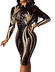 cheap -Women's Sheath Dress Midi Dress Black Beige Long Sleeve Print Sequins Fall Winter Round Neck Party Sexy 2021 S M L XL XXL / Slim