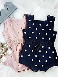 cheap -Baby Girls' Jumpsuits Basic Cute Birthday Weekend Blue Blushing Pink Dusty Rose Blue & White Polka Dot Color Block Drawstring Long Sleeve