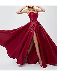 cheap -A-Line V Neck Floor Length Chiffon Bridesmaid Dress with Pleats / Split Front