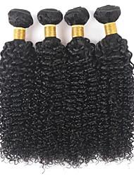 cheap -Ishow 4 Bundles Human Hair Weaves 8A Plain Pure Hair Shade Kinky Curly 4 Pieces 100% Human Woven Brazilian Hair Extensions