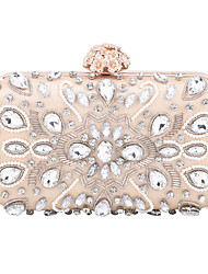 cheap -Women's Bags Polyester Evening Bag Crystals Chain Party / Evening Daily Retro Evening Bag Chain Bag Almond Black
