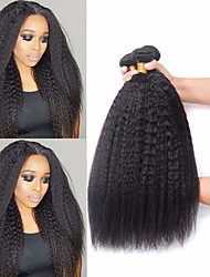 cheap -3 Bundles Hair Weaves Brazilian Hair kinky Straight Human Hair Extensions Remy Human Hair 100% Remy Hair Weave Bundles 300 g Natural Color Hair Weaves / Hair Bulk Human Hair Extensions 8-28 inch