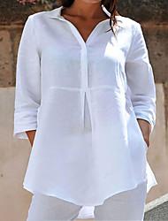 cheap -Women's Plus Size Tops Blouse Shirt Plain Asymmetric Button 3/4 Length Sleeve Shirt Collar Streetwear Daily Sports Polyster Fall Winter Gray White