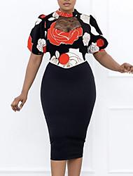 cheap -Women's Sheath Dress Knee Length Dress Black Short Sleeve Floral Patchwork Print Fall Round Neck Work Casual Regular Fit 2021 M L XL