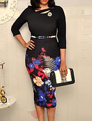 cheap -Women's Sheath Dress Knee Length Dress Black 3/4 Length Sleeve Floral Print Fall Round Neck Work Casual Regular Fit 2021 M L XL XXL