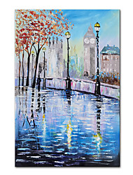 cheap -Oil Painting Handmade Hand Painted Wall Art Mintura Abstract Street Landscape For Home Decoration Decor Rolled Canvas No Frame Unstretched