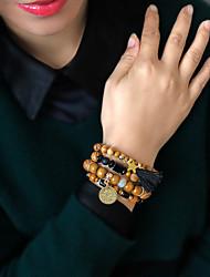 cheap -4pcs Women's Bead Bracelet Friendship Bracelet Wrap Bracelet Layered Fashion Leaf Birthday Luxury Dangling Tassel Ethnic Boho Acrylic Bracelet Jewelry Brown For Gift Prom Date Beach Festival / Wood