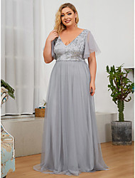 cheap -A-Line Plunging Neck Floor Length Tulle / Sequined Bridesmaid Dress with Sequin