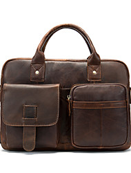 cheap -Men's Bags Nappa Leather Cowhide Briefcase Zipper Daily Handbags Red Brown