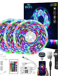 cheap -LED WIFI Smart Strip Lights Kit 5M 10M 15M 20M RGB APP Music Sync Waterproof  2835 SMD LED Strip Light with 24 Key IR Controller and Adapter for Bedroom Home TV Back Light DIY Decor