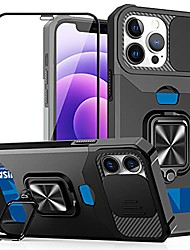 cheap -compatible with iphone 13 pro max case, with screen protector, ring kickstand magnetic car mount, slide camera cover, card holder slot, shockproof protective case for iphone13 pro max-black