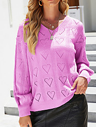 cheap -Women's Pullover Sweater Jumper Knitted Solid Color Stylish Casual Soft Long Sleeve Sweater Cardigans V Neck Fall Winter Purple Khaki White