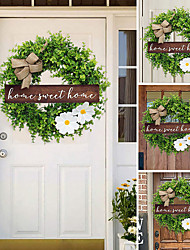 cheap -Christmas Door Decoration Christmas Wall Decoration Eucalyptus Small Fresh Brand Wreath Door Hanging