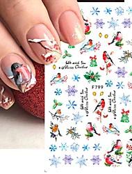 cheap -5pcs Autumn Winter Nail Sticker Robin Snow Flower New Year Halloween 3D Decals Nail Art Design Decor Accessories