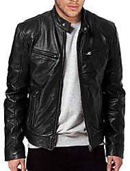 cheap -men's sword black genuine lambskin leather biker jacket (black, xxl)
