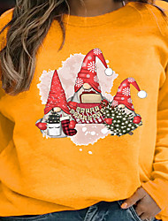 cheap -Women's Plus Size Tops Pullover Sweatshirt Snowflake Print Long Sleeve Crewneck Streetwear Christmas Christmas Daily Polyster Fall Winter Blue Yellow
