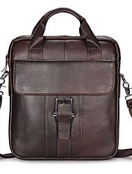 cheap -Men's Bags Nappa Leather Cowhide Crossbody Bag Top Handle Bag Zipper Solid Color Daily Office & Career Retro Handbags Coffee