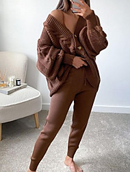 cheap -Women's Breathable Loungewear Sets Home Street Daily Going out Basic Elastic Waist Pure Color Polyester Simple Fashion Sport Sweater Pant Fall Winter V Wire Long Sleeve Long Pant Not Specified