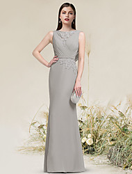 cheap -Sheath / Column Beautiful Back Elegant Engagement Formal Evening Dress Jewel Neck Sleeveless Floor Length Chiffon Lace with Lace Insert 2021