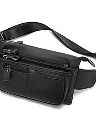 cheap -Men's Bags Nappa Leather Cowhide Sling Shoulder Bag Zipper Daily Bum Bag Black Brown Coffee