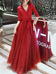 cheap -A-Line Glittering Elegant Prom Formal Evening Dress V Neck Half Sleeve Floor Length Tulle Stretch Fabric with Bow(s) Sequin 2021