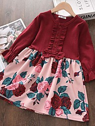 cheap -Kids Toddler Little Girls' Dress Plants Solid Colored Flower School Daily Ruffle Patchwork Print Wine Above Knee Long Sleeve Cute Dresses Fall Spring Regular Fit 1-5 Years