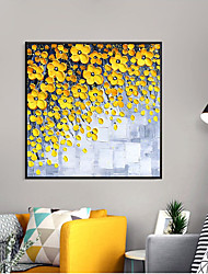 cheap -Oil Painting Handmade Hand Painted Wall Art Palette Knife Painting Yellow Flowers Home Decoration Decor Stretched Frame Ready to Hang