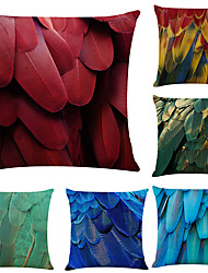 cheap -Colorful Feather Double Side Cushion Cover 6PC Soft Decorative Square Throw Pillow Cover Cushion Case Pillowcase for Bedroom Livingroom Superior Quality Machine Washable Indoor Cushion for Sofa Couch Bed Chair