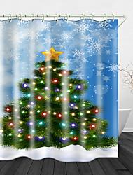 cheap -Beautiful Christmas Tree Printed Waterproof Fabric Shower Curtain Bathroom Home Decoration Covered Bathtub Curtain Lining Including hooks.