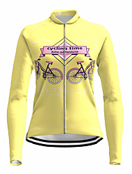 cheap -21Grams Women's Long Sleeve Cycling Jersey Spandex Yellow Bike Top Mountain Bike MTB Road Bike Cycling Quick Dry Moisture Wicking Sports Clothing Apparel / Stretchy / Athleisure